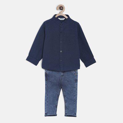 MINI KLUB Boys Casual Shirt Jeans(Blue)