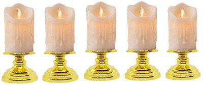 Auslese Blinking LED Candle Candle(Yellow, Pack of 5)