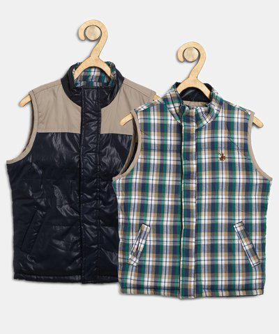 U.S. Polo Assn. Kids Sleeveless Checkered Boys Jacket