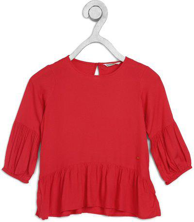 BOSSINI Girls Pure Cotton Peplum Top(Red, Pack of 1)