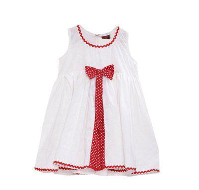 Twisha Girls Midi/Knee Length Casual Dress(White, Sleeveless)