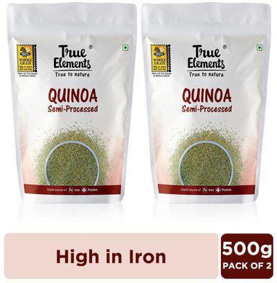 True Elements Gluten Free, High in Iron, Semi Processed Quinoa(1 kg, Pack of 2)