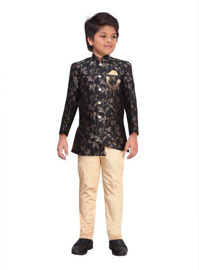 AJ Dezines Boys Festive & Party, Wedding Sherwani and Churidar Set(Black Pack of 1)