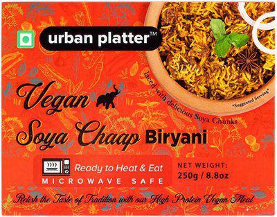 Urban Platter Vegan Soya Chaap Biryani, 250g [Pack of 3, Vegan Meals, Ready to Heat & Eat, Microwave Safe] 250 g