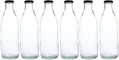 Good Life Airtight Cap Glass Water Bottle for Milk,Juice,Fridge,Home,Office,1 ltrx6 bottle, 1000 ml Bottle(Pack of 6, Clear)