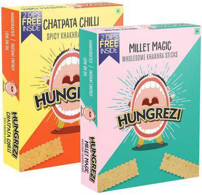 Hungrezi Combo Of Chatpata Chilli & Millet Magic Khakhra Sticks(2 x 90 g)
