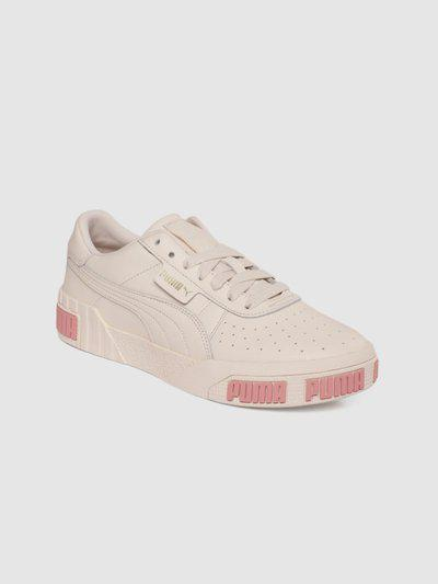 Puma Women Cream-Coloured Cali Bold Leather Sneakers Sneakers For Women(Pink)