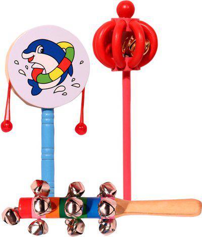 Nihuusravee Colorful Non Toxic wooden Rattle Toys for Babies, Infants rattle sets Rattle(Blue)