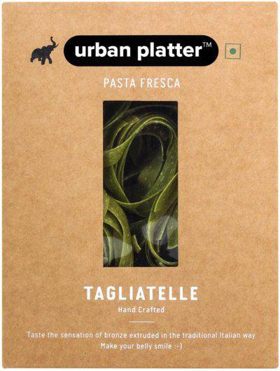 Urban Platter Vegan Pasta Fresca Spinach Tagliatelle, 250g / 8.8 [Hand Crafted] Spaghetti Pasta(250 g)