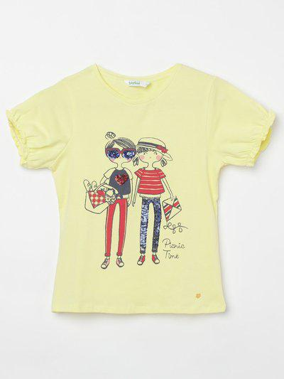 BOSSINI Girls Pure Cotton Top(Yellow, Pack of 1)