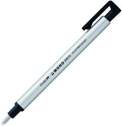 Tombow Mono Zero Round Shapre Silver Eraser(Set of 1, White)