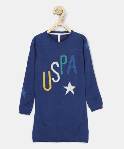 U.S. Polo Assn. Kids Girls Midi/Knee Length Casual Dress(Dark Blue, Full Sleeve)
