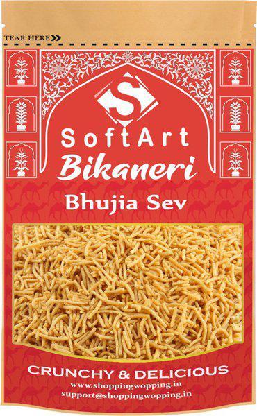 Soft Art Namkeen Pure Bikaneri bhujia sev Crispy and Crunchy Vacuum Pack(250 g)