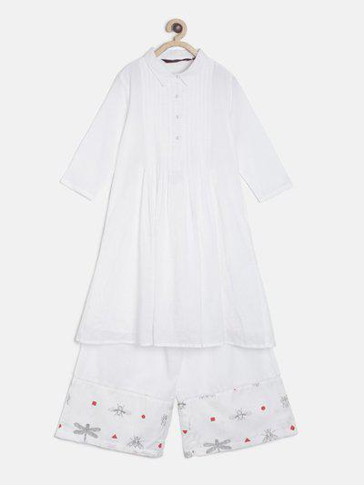Sangria Girls Festive & Party Kurta and Pallazo Set(White Pack of 1)