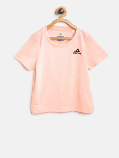 ADIDAS Girls Self Design Pure Cotton T Shirt(Pink, Pack of 1)