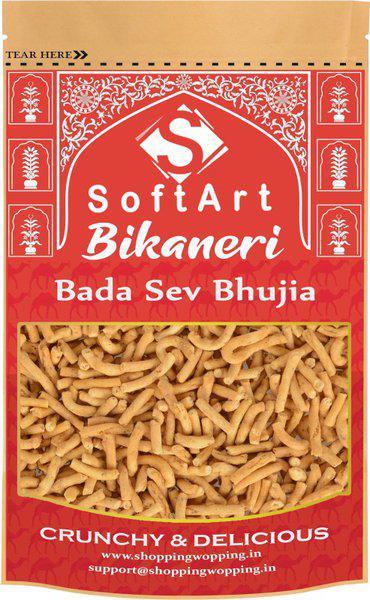 Soft Art Namkeen Pure Bikaneri Bada Sev Bhijia Crispy and Crunchy Vacuum Pack(500 g)