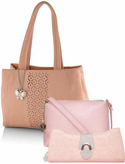 Butterflies Women Pink Hand-held Bag