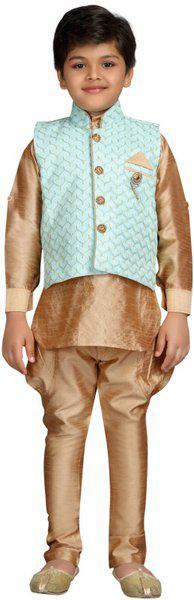 Kidling Indi Boys Festive & Party Kurta, Waistcoat and Pyjama Set(Multicolor Pack of 1)