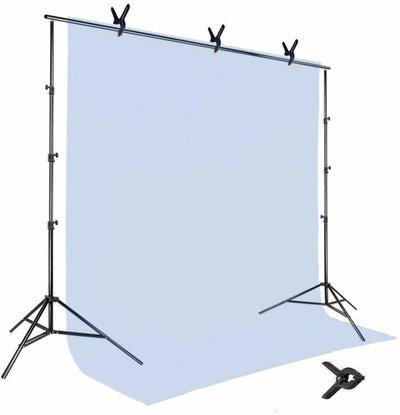 SHOPEE 8 x12 FT White Backdrop Photo Light Studio Photography Background with 4pcs Backdrop Support Spring Clamp 4.3