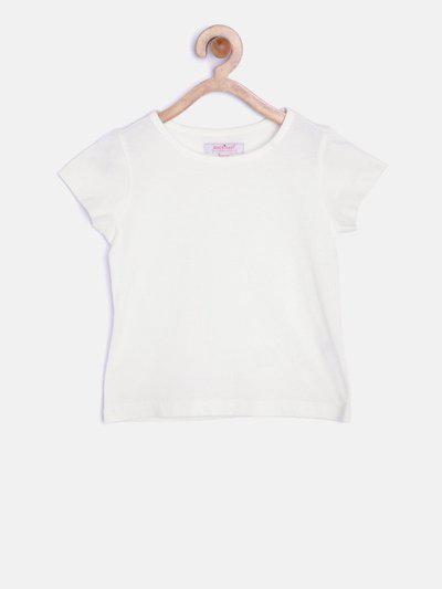 NautiNati Girls Solid Cotton Blend T Shirt(White, Pack of 1)