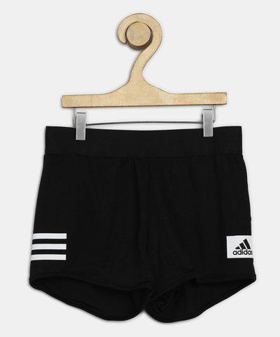 ADIDAS Short For Girls Sports Self Design Polyester(Black, Pack of 1)