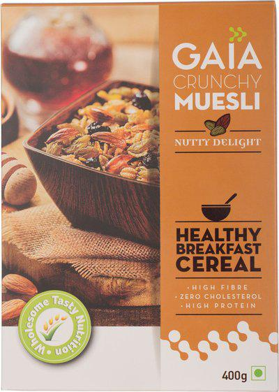 GAIA Nutty Delight Muesli, 400G (Pack of 2)(800 g, Box, Pack of 2)