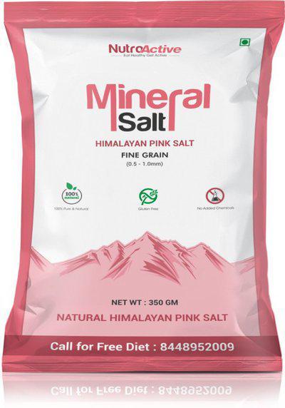 NutroActive Mineral Salt (Himalayan Pink Salt) Rock Salt Fine Grain (0.5-1 mm) 350 gm Himalayan Pink Salt(350 g)