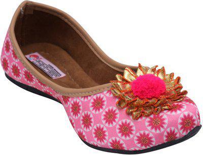 Dchica Girls Slip on Mojaris(Pink)