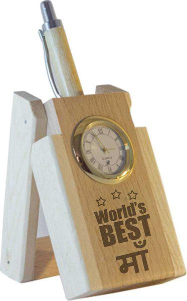 Tied Ribbons World Best Mom Table Top 1 Compartments Wooden Pen Stand(Brown)