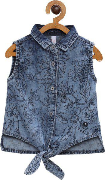 Tales & Stories Baby Girls Casual Pure Cotton Shirt Style Top(Blue, Pack of 1)
