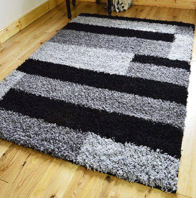 Presto Black Polyester Carpet(150 cm  X 210 cm)