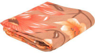 Saksham Floral Double Coral Blanket(Microfiber, Multicolor)