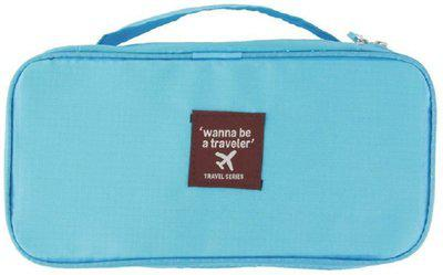 Everbuy Nylon Slide Portable Cosmetic, Makeup, Lingerie Toiletry Travel Innerwear Bag Organizer with Handle Travel Toiletry Kit(Blue)