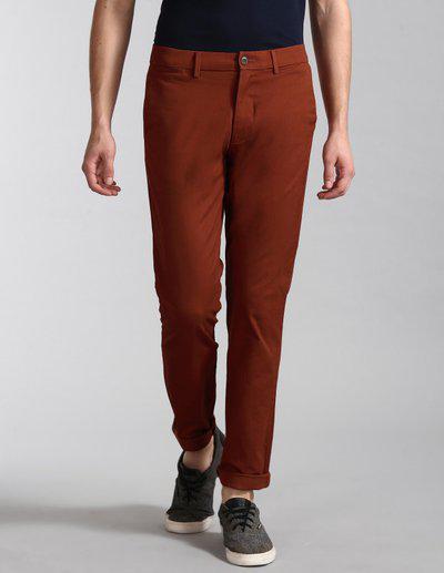 GAP Men Rust Slim Fit Solid Regular Trousers