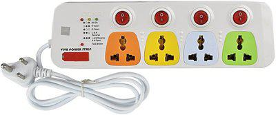 Cona Viva 4+4 Power Strip / Spike Guard 4 Sockets + 4 Individual Switches with 1.75m 4 Socket Surge Protector(Multicolor)