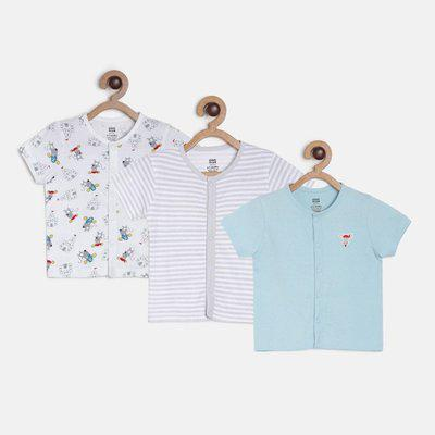 MINI KLUB Baby Boys Printed Pure Cotton T Shirt(Multicolor, Pack of 3)