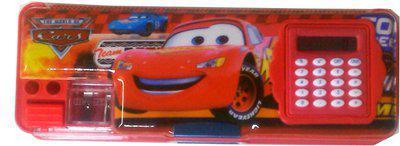 Karta Red Car With Calculator & Dual Sharpner Art Plastic Pencil Box(Set of 1, Red)