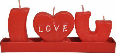 Indigo Creatives I Love you Alphabet Passion Red Candle(Red, Pack of 3)
