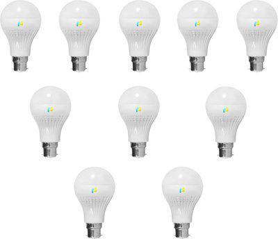 Finike 9 W Standard B22 LED Bulb(Yellow, Pack of 10)