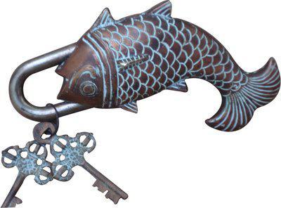 Aakrati Brassware Antique of Fish Figure Padlock(Brown)