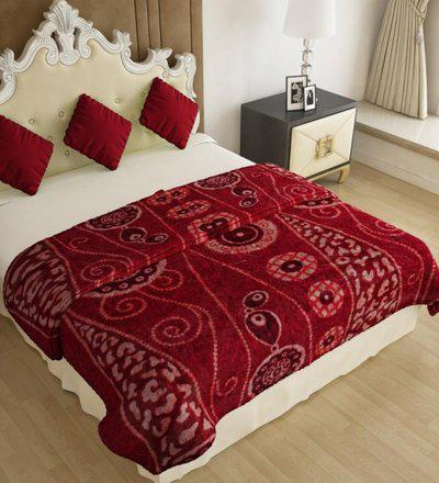 Home Candy Floral Double Mink Blanket(Polyester, Maroon)