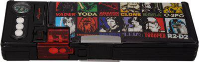 Disney Star Wars Superhero Art Plastic Pencil Box(Set of 1, Black, Red)