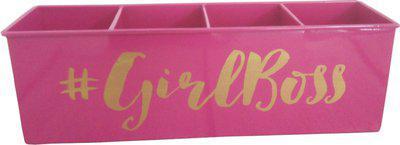 Elan 1 Compartments Iron Desk Organiser(Pink)