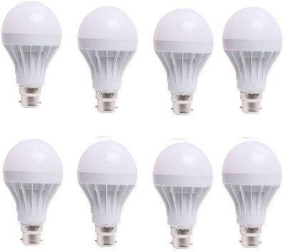 LED 7 W Standard B22 LED Bulb(White, Pack of 8)