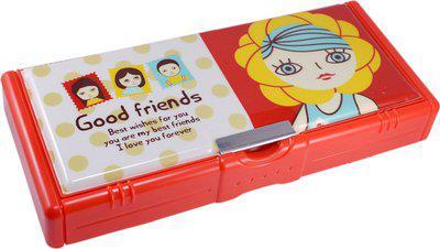 Saamarth Impex Student Supplies Cartoon Print Art Plastic Pencil Box(Set of 1, Red)