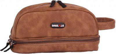 BagsRUs Beige Compact Faux Leather 2 L Travel Toiletry Bag for Men and Women TK104FBE