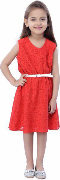 Stylestone Midi/Knee Length Party Dress(Red, Sleeveless)