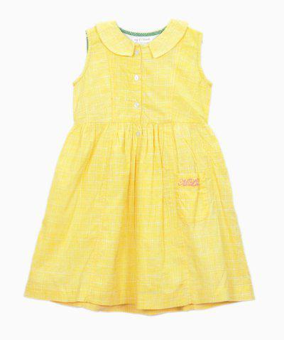 My Little Lambs Midi/Knee Length Casual Dress(Yellow, Sleeveless)