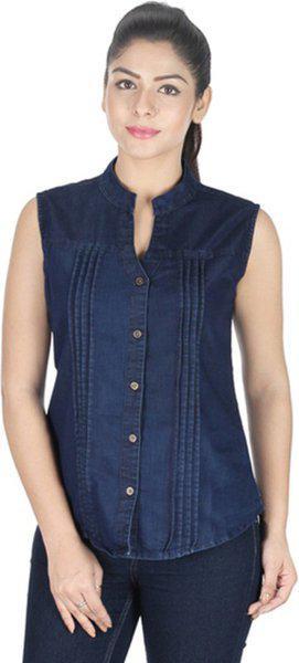 MuuN Women's Solid Casual Denim Dark Blue Shirt
