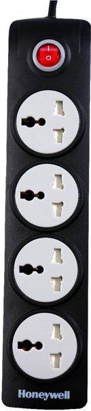 Honeywell 4 Socket Surge Protector(Black)